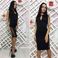 Платье женское черное без рукавов с сеточкой