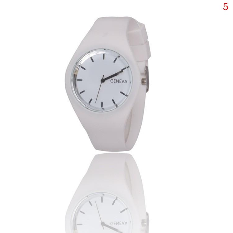 7aec8700 Модные стильные женские часы Geneva ,белые, силиконовый ремешок - Интернет  магазин
