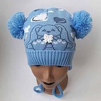 Детская вязаная шапка для мальчика 7-10 лет оптом