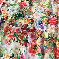 Штапель с нежными разноцветными цветами, фото 1
