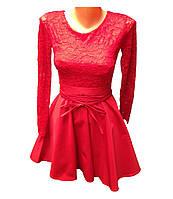 Женское красное платье с длинным рукавом