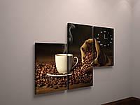 Настенные часы на холсте для кухни кофе зерна