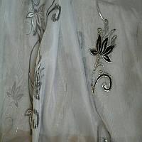 Тюль муар белый с черным рисунком