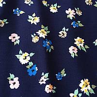 Штапель с мелкими цветочками на тёмно-синем фоне, фото 1