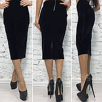Стильная женская юбка-карандаш,ткань бархат, цвет пудра,черный,синий,красный,марсала