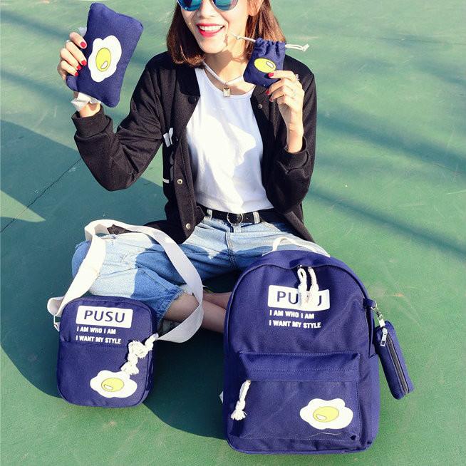 """Школьный рюкзак с набором сумочек """"Яичница"""""""