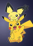 Картина 40х60 см Покемон Го Pokemon Go Пикачу и Френки