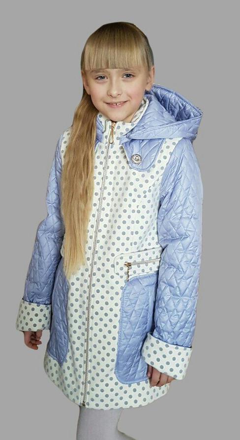 Детское  пальто с капюшоном в горошек