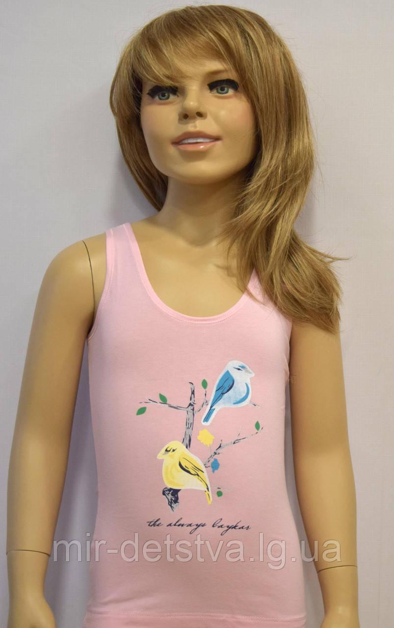 """Майки детские для девочек """"Птичка"""" ТМ Baykar, Турция оптом р.4 (134-140см) ост. 1 шт розовый"""
