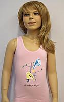 """Майки детские для девочек """"Птичка"""" ТМ Baykar, Турция оптом р.4 (134-140см) ост. 1 шт розовый, фото 1"""