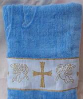Полотенце для крестин,  Крыжма  цветная, голубая и розовая