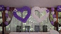 Гелиевые фонтаны, ромашки и два сердца