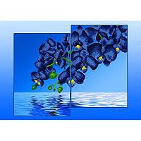 Схемы на ткани для вышивания бисером Диптих Серия Элит Голубые орхидеи