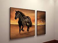 Картина на холсте настенные часы бесшумный механизм Черная лошадь Конь 100х60 из 2-х частей
