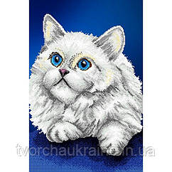 Схема на ткани для вышивания бисером Белый кот