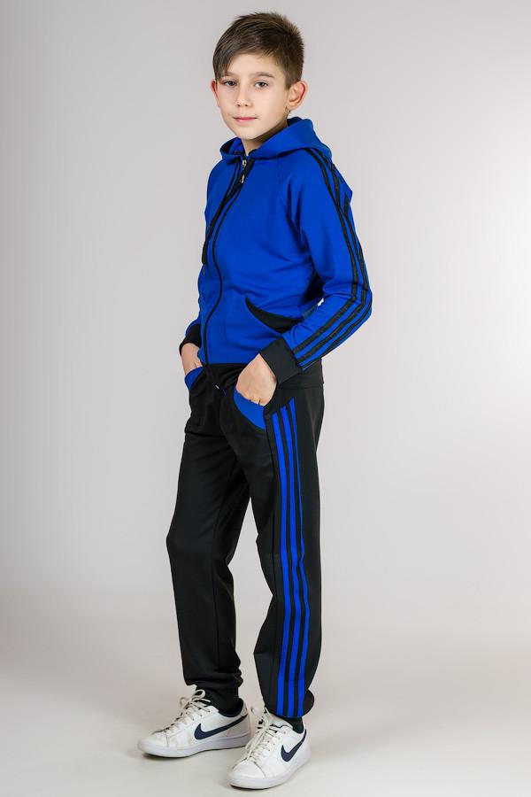 Детский спортивный костюм для мальчика и девочки Комби-лампас (электрик)