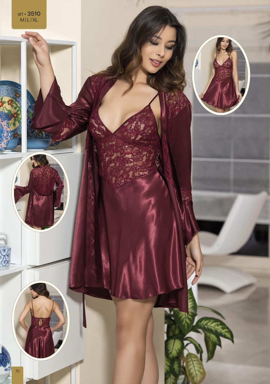 927c3ee768a Шелковый комплект халат и ночная сорочка (пеньюар) Angel Story 3510 ...