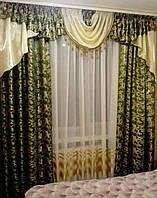 "Шторы с ламбрекеном ""Сандра нова"" на карниз 2.5 м - 3.5 м. Темно зеленого  цвета."