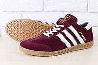 Мужские кроссовки, цвет - насыщенно-вишневый, из натуральной замши, с кожаными белыми вставками, на шнурках