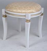 Банкетка классическая круглая из массива бука с мягким сиденьем цвет дерева белый с золотой патиной