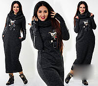 """Стильное длинное женское платье в больших размерах """"Капюшон Мишка"""" в расцветках (ХЗ-414)"""
