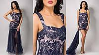 Вечернее платье с вышивкой паетками  синий 42 44 46