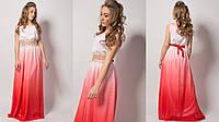 Вечернее платье  с кружевом НП 1070 коралл 42 44 46