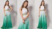 Вечернее платье шифон НП 1070 зеленый 42-46