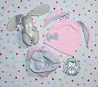 Комплект шапка и хомут весна осень для девочки с ушками зайчика велюр+трикотаж