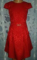 Нарядное детское красное жаккардовое платье