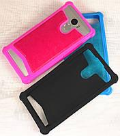 Силиконовый чехол с кожаной накладкой для телефона Fly FS502