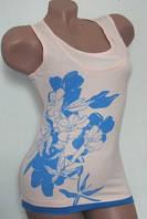 Майка женская с цветочным принтом 42-50. Кремовая