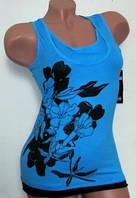 Майка женская с цветочным принтом 42-50. Голубая, фото 1