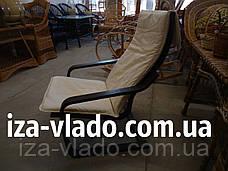 Кресло-лягушка (пружина) шоколадного цвета с белым чехлом, фото 2