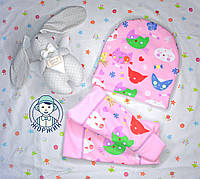 Комплект шапка и хомут весна осень для девочки кошечки