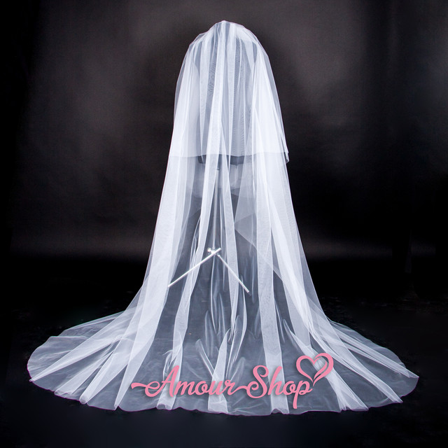 свадебная фата шлейф 2-ярусная