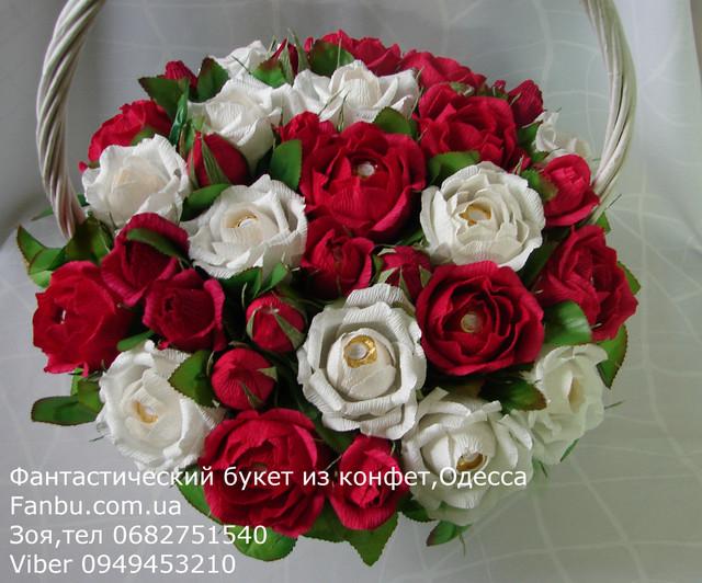 Букеты из конфет .Корзины цветов из конфет с доставкой в Одессе