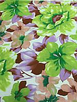 Лён стрейчевый итальянский с зелеными цветами, ширина 150 см