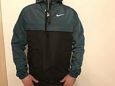 Мужская куртка анорак Nike President черно-серая топ реплика
