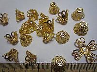 Конус-цветок для бусин, бутона, цветка канзаши, длина 13 мм, уп. 10 шт. Золотистый