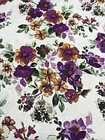 Лён стрейчевый итальянский с фиолетовыми цветами, ширина 135 см