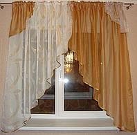 "Комплект штор для кухни ""Арт"" золото 4 м, шифон + полуорганза"