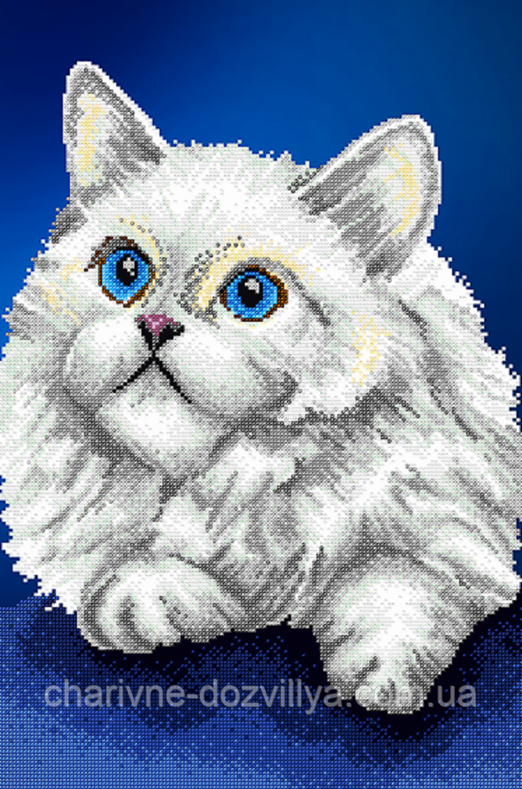 """Схема для вышивки бисером на атласе (животные) """"Белый кот"""" Серия Элит"""