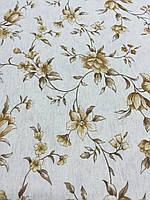 Лён с бежевыми цветочками на бежевом фоне, ширина 150 см, фото 1