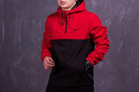 Мужской анорак Nike President красный с черным топ реплика, фото 2