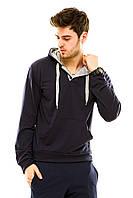 Мужская спортивная кофта с капюшоном темно-синяя