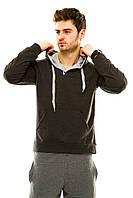 Мужская спортивная кофта с капюшоном темно-серая