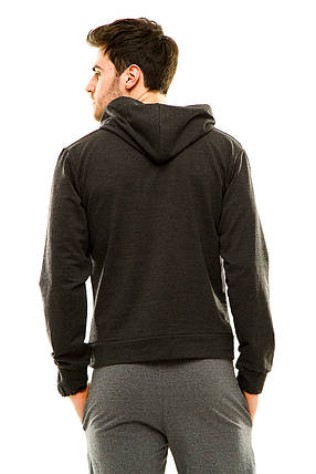 Мужская спортивная кофта с капюшоном темно-серая, фото 2
