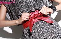 Универсальный женский кожаный пояс для любой одежды. Красный. широкий и длинный пояс
