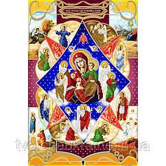 Схема на ткани для вышивания бисером Икона Божией Матери Неопалимая Купина